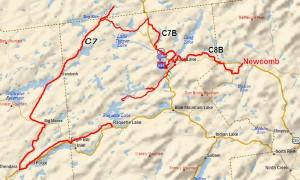 Long Lake and Raquette Lake Snowmobile Map